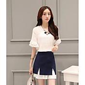 Mujer Simple Casual/Diario Verano T-Shirt Falda Trajes,Escote en Pico Un Color Media Manga