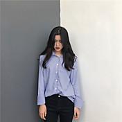 レディース カジュアル/普段着 シャツ,シンプル シャツカラー ソリッド ストライプ コットン 長袖