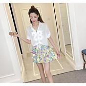 レディース カジュアル/普段着 夏 シャツ スカート スーツ,シンプル ラウンドネック フラワー 長袖