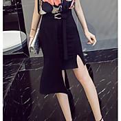 Mujer Sofisticado Noche Asimétrico Faldas,Corte Bodycon Verano Un Color