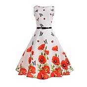 Mujer Trabajo Festivos Vintage Algodón Vaina Corte Swing Vestido Floral Tiro Alto Hasta la Rodilla Mariposa