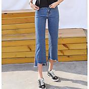 Mujer Sencillo Tiro Medio Microelástico Vaqueros Pantalones,Perneras anchas Bloques