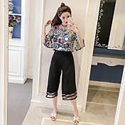 Mujer Chic de Calle Noche Verano T-Shirt Pantalón Trajes,Escote Redondo Un Color Floral Media Manga Bordado Inelástica