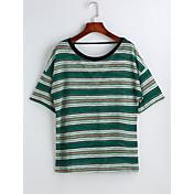 レディース カジュアル/普段着 Tシャツ,シンプル ラウンドネック ソリッド ストライプ コットン 半袖
