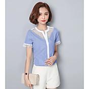 レディース カジュアル/普段着 Tシャツ,シンプル ハートカット ストライプ コットン 半袖