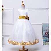 aラインの足首の長さの花嫁の女の子のドレス - サテンのネックレスの袖のネックレス