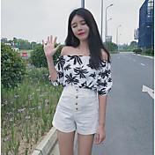 Mujer Casual Diario Verano Camiseta Pantalón Trajes,Escote Barco Hoja Media Manga Algodón
