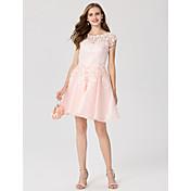 Corte en A Princesa Joya Corta / Mini Encaje Organza Fiesta de Cóctel Vestido con Apliques por TS Couture®