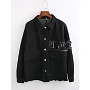 レディース お出かけ 冬 デニムジャケット,ストリートファッション シャツカラー ソリッド レギュラー コットン 長袖