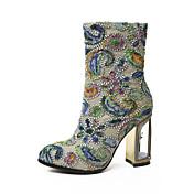 レディース 靴 レザー 冬 アイデア ファッションブーツ ブーツ チャンキーヒール ラウンドトウ ミドルブーツ 用途 結婚式 ドレスシューズ アーミーグリーン レッド