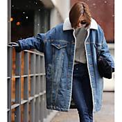 レディース お出かけ 冬 コート,ストリートファッション シャツカラー ソリッド ロング その他 長袖