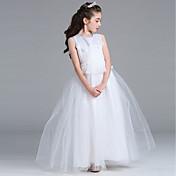 princesa piso longitud vestido de niña de flores - cuello satinado redonda sin mangas joya con encaje by bflower
