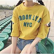 レディース お出かけ Tシャツ,シンプル 活発的 ラウンドネック レタード コットン ハーフスリーブ