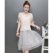 Mujer Simple Casual/Diario Verano T-Shirt Falda Trajes,Escote Redondo Estampado Media Manga Microelástico