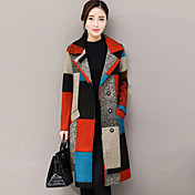 レディース お出かけ 秋 冬 コート,ストリートファッション シャツカラー プリント レギュラー カシミヤ ポリエステル 長袖