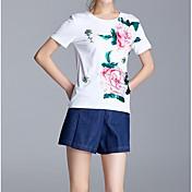 レディース お出かけ カジュアル/普段着 夏 Tシャツ(21) パンツ スーツ,ストリートファッション ラウンドネック フラワー 半袖 マイクロエラスティック
