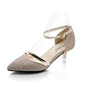 Mujer Zapatos PU Primavera Verano Suelas con luz Tacones Tacón Bajo Dedo Puntiagudo Hebilla Para Casual Dorado Plata