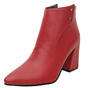 Mujer Zapatos Cuero de Napa Otoño Botas de Combate Botas Tacón Robusto Dedo Puntiagudo Para Negro Rojo Marrón Claro