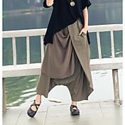 Mujer Boho Tiro Alto Microelástico Corte Ancho Perneras anchas Pantalones,Un Color Verano