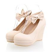 Mujer Zapatos PU Primavera Otoño Confort Innovador Tacones Tacón Cuña Dedo redondo Pajarita Hebilla Para Boda Fiesta y Noche Beige Azul