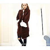 Mujer Largo Pullover Casual/Diario Vintage Simple,Un Color Escote en Pico Manga Larga Lana Poliéster Primavera Otoño Medio Microelástico