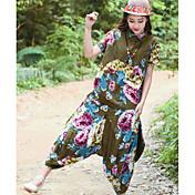 レディース お出かけ 夏 Tシャツ(21) パンツ スーツ,アジアン・エスニック シャツカラー フラワー 半袖