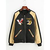 女性用 日常 秋 ショート ジャケット, ヴィンテージ セクシー スタンド ポリエステル プリント 刺繍