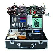 Kit completo para tatuaje    4 x tatuaje de aleación para el revestimiento de la máquina y el sombreado 3 máquinas de tatuaje Fuente de