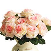 1 1 Rama Poliéster / Plástico Rosas Flor de Mesa Flores Artificiales 17.7inch/45cm
