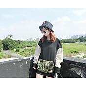 Mujer Sudadera Casual/Diario Simple Bloques Escote Redondo Microelástico Algodón Manga Larga Invierno