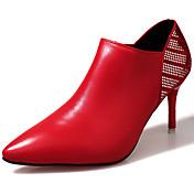 レディース 靴 PUレザー 秋 ブーティー ブーツ スティレットヒール ポインテッドトゥ ブーティー/アンクルブーツ ジッパー 用途 カジュアル ブラック ベージュ レッド