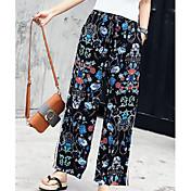 Mujer Casual Tiro Medio Microelástico Perneras anchas Pantalones,Estampado Bloques Primavera Otoño