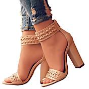 Mujer Zapatos PU Primavera / Verano Confort / Innovador Sandalias Puntera abierta Cremallera Negro / Beige / Boda / Fiesta y Noche