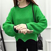 Mujer Regular Pullover Casual/Diario Bloques Escote Redondo Manga Larga Otro Primavera Invierno Medio Microelástico