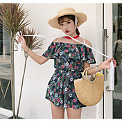 Mujer Simple Casual/Diario Verano Blusa Pantalón Trajes,Escote Barco Estampado Manga Corta Microelástico