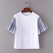 レディース お出かけ Tシャツ,シンプル ラウンドネック カラーブロック ポリエステル 半袖