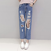 Mujer Casual Tiro Medio Microelástico Corte Ancho Vaqueros Pantalones,Un Color Primavera Verano