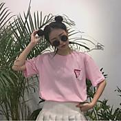 レディース カジュアル/普段着 Tシャツ,キュート ラウンドネック アニマルプリント コットン 半袖
