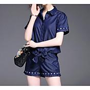 Mujer Chic de Calle Noche Casual/Diario Verano Camisas Pantalón Trajes,Cuello Camisero Un Color Manga Corta Microelástico