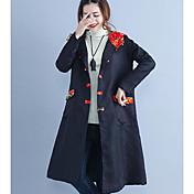 レディース カジュアル/普段着 冬 コート,シンプル フード付き プリント ロング コットン 長袖