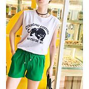 Mujer Casual Tiro Bajo Rígido Corte Ancho Shorts Pantalones,Un Color Verano