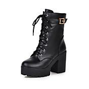 レディース 靴 レザーレット 冬 コンフォートシューズ アイデア ファッションブーツ ブーツ チャンキーヒール ラウンドトウ ミドルブーツ 用途 カジュアル ドレスシューズ ブラック イエロー Brown