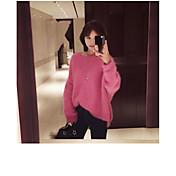 Mujer Regular Pullover Casual/Diario Un Color Escote Redondo Manga Larga Otro Otoño Medio Microelástico