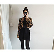 Mujer Regular Pullover Casual/Diario Leopardo Escote Redondo Manga Larga Acrílico Otoño Medio Microelástico