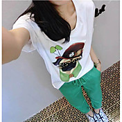 Mujer Noche Verano T-Shirt Pantalón Trajes,Escote Redondo Obra Artística Estampado Media Manga