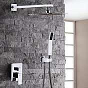 コンテンポラリー シャワーシステム レインシャワー ハンドシャワーは含まれている 二つ クロム, シャワー水栓