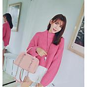 Mujer Regular Pullover Casual/Diario Simple,Un Color Escote Redondo Manga Larga Acrílico Primavera Fino Microelástico