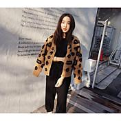 Mujer Corto Cardigan Diario Leopardo Escote en Pico Manga Larga Acrílico Invierno Otoño Medio Microelástico