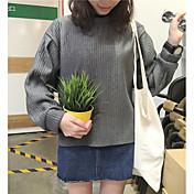 Mujer Sudadera Noche Un Color Escote Redondo Microelástico Poliéster Manga Larga Otoño