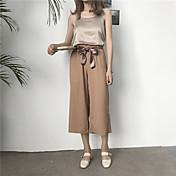 Mujer Casual Tiro Alto Rígido Perneras anchas Pantalones,Un Color Verano